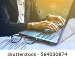 close up of typing male hands... | Shutterstock . vector #564030874