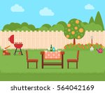summer house backyard with... | Shutterstock . vector #564042169