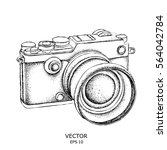 hand drawn vintage camera on... | Shutterstock .eps vector #564042784