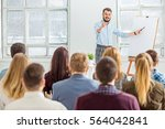 speaker at business meeting in... | Shutterstock . vector #564042841