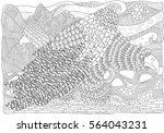 fantastical bird coloring book. ... | Shutterstock .eps vector #564043231