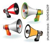 set of megaphones on white ... | Shutterstock .eps vector #564043639
