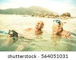 senior couple vacationer having ... | Shutterstock . vector #564051031