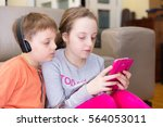 brother and sister playing...   Shutterstock . vector #564053011