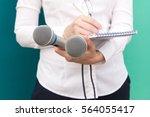 female journalist or reporter...   Shutterstock . vector #564055417