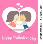 couple kissing with cute... | Shutterstock .eps vector #564060184