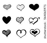 set of black hand drawn ink... | Shutterstock .eps vector #564065971