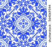 portuguese azulejo tiles. blue... | Shutterstock . vector #564069544