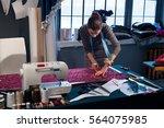 tailor tailors chalk cloth on... | Shutterstock . vector #564075985