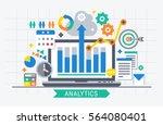 Flat design modern vector illustration concept of website analytics search information.