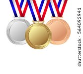 gold  silver and bronze medals... | Shutterstock .eps vector #564092941