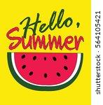 hello summer poster in yellow... | Shutterstock .eps vector #564105421