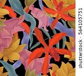 seamless tropical flower  plant ... | Shutterstock . vector #564105751