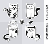 cute cartoon black and white...   Shutterstock .eps vector #564106525