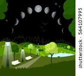 night city park with moon... | Shutterstock .eps vector #564107995