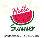 hello summer simple poster with ... | Shutterstock .eps vector #564109189