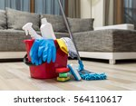 cleaning service. bucket with... | Shutterstock . vector #564110617
