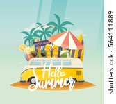 summer retro van and surf... | Shutterstock .eps vector #564111889