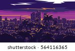 los angeles skyline | Shutterstock .eps vector #564116365