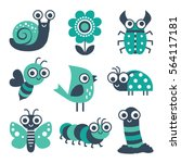 Stock vector cute collection of vector cartoon bugs insects garden elements in mint green and navy blue 564117181