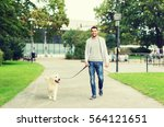 Stock photo family pet animal and people concept happy man with labrador retriever dog walking in city park 564121651