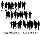 people athletes on running race ... | Shutterstock .eps vector #564125617