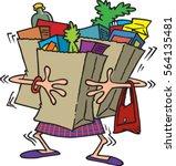 cartoon woman carrying a lot of ... | Shutterstock .eps vector #564135481