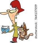 cartoon woman with a bad cat   | Shutterstock .eps vector #564137059