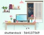 modern teenager girl room with... | Shutterstock .eps vector #564137569