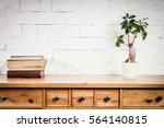 shelf with a book and flower... | Shutterstock . vector #564140815
