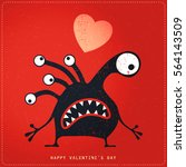 cute monster with emotions and...   Shutterstock .eps vector #564143509