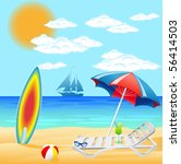 set from beach on sea ... | Shutterstock . vector #56414503