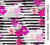 seamless pattern floral design. ... | Shutterstock . vector #564148411