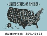 poster map of united states of... | Shutterstock . vector #564149635