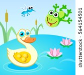 duck  duck and mosquito on the... | Shutterstock .eps vector #564154501