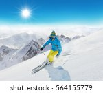 skier on piste running downhill ... | Shutterstock . vector #564155779