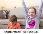 brother and sister playing...   Shutterstock . vector #564156931