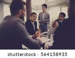 business discussion meeting...   Shutterstock . vector #564158935