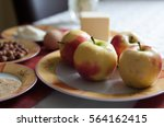 red and yellow ripe apples on...   Shutterstock . vector #564162415