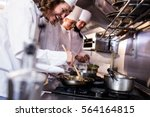 group of chef preparing food in ... | Shutterstock . vector #564164815