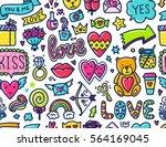 doodles cute seamless pattern.... | Shutterstock .eps vector #564169045