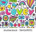 doodles cute seamless pattern.... | Shutterstock .eps vector #564169051