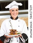 young beautiful female chef... | Shutterstock . vector #56417329