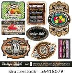 Stock vector vintage labels collection design elements with original antique style set 56418079