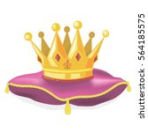 royal gold crown on the pillow | Shutterstock .eps vector #564185575