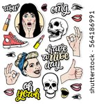 vector trendy sticker set.... | Shutterstock .eps vector #564186991