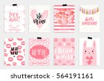 collection of pink  black ... | Shutterstock .eps vector #564191161