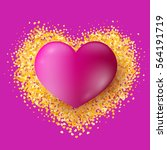 big realistic pink heart on... | Shutterstock .eps vector #564191719