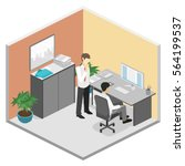 3d isometric abstract office... | Shutterstock .eps vector #564199537