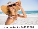 portrait of blonde woman with... | Shutterstock . vector #564212209
